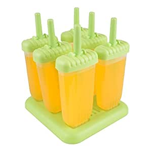 Classic Repeated Use Popsicle Molds Ice Pop Molds BPA Free, Oval, Set of 6 (Green)
