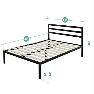 Zinus Modern Studio 14 Inch Platform 1500H Metal Bed Frame / Mattress Foundation / Wooden Slat Support / with Headboard,