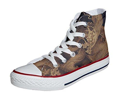 Converse All Star Chaussures Personnalisé et Imprimés (produit artisanal) avec le dragon - size EU 32