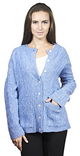 Knit Minded Womens Long Sleeves Crew Neck Cable Knit Button Cardigan with Front Pockets Denim ()