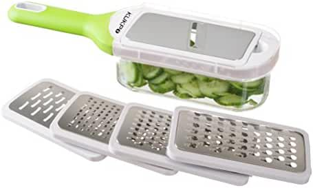 KUKPO Grater and Slicer: Food Shredder Set With Container - 5 Interchangeable Blades – Ideal For Cheese - Vegetables - Fruit - Chocolate, Easy To Use With Rubber Nonslip Bottom And Handle