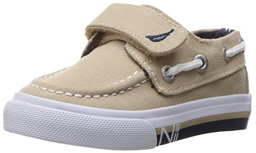 (Nautica Boys' Little River Striped Foxing Boat Shoe, New Core Boathouse, 9 M US Toddler)