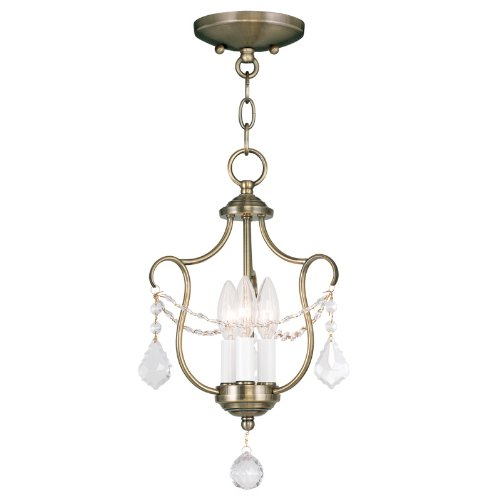 (Livex Lighting 6420-01 Chesterfield 3 Light Convertible Chain Hang/Ceiling Mount, Gold/Antique Brass)