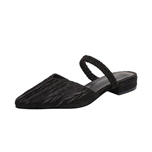 Zapatillas 2018 Sandalias Estar Plano por Mujer Zapatilla Vendimia Sandalias Skid y Punta Puntiaguda Negro Plisado de Chancletas WINWINTOM Casa Chanclas Talón Anti Mujeres q8wxEYSr8