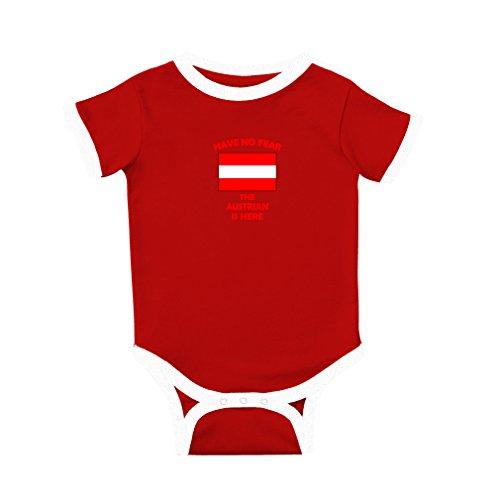 - Have No Fear Austrian is Here Austria Cotton Short Sleeve Crewneck Unisex Baby Soccer Bodysuit Sports Jersey - Red, 18 Months
