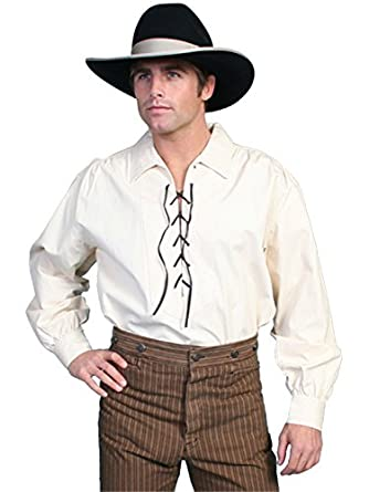 Victorian Men's Shirts- Wingtip, Gambler, Bib, Collarless Leather Lace Up Front Shirt  AT vintagedancer.com