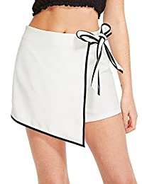 WDIRA - Pantalones Cortos de Mujer con Lazo de encuadernación en Contraste y Cintura Media