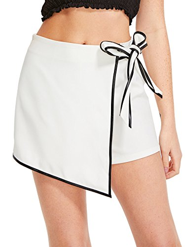 WDIRARA Women's Contrast Binding Knot Side Mid Waist Asymmetrical Skirt Shorts White-3 M