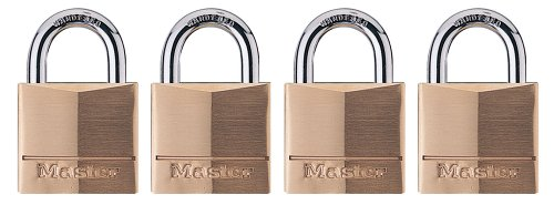 Master Lock 140Q Solid Brass Keyed Alike Padlock with 1-9/16-inch Wide Body and 7/8-inch Shackle, 4-Pack