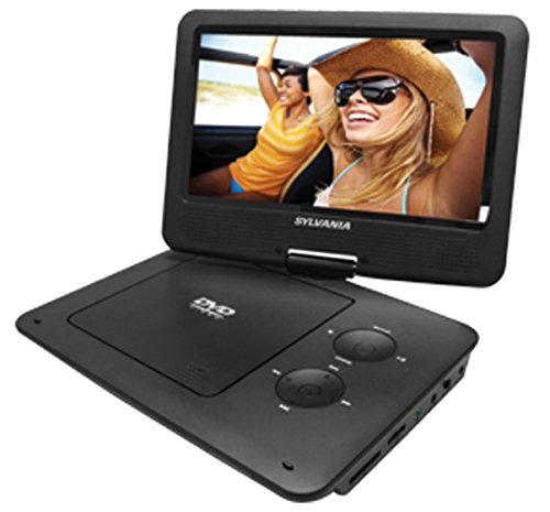 Sylvania 9-Inch Swivel Screen Portable DVD/CD/MP3 Player with 5 Hour Built-In Rechargeable Battery, USB/SD Card Reader, AC/DC Adapter (Renewed)