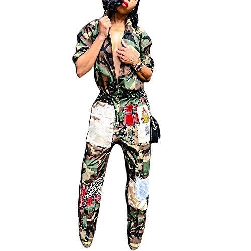 Women's One Piece Zipper Jumpsuit Camouflage Printed Sports Sweatsuits -