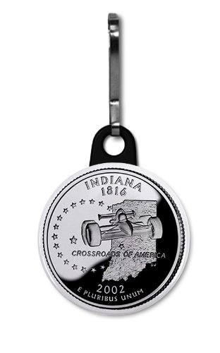 INDIANA State Quarter Mint Image 1 inch Zipper Pull Charm