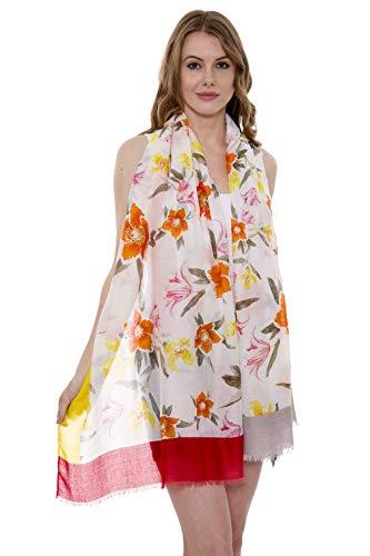 Women's Summer Scarf Lightweight Soft Floral Print Oblong Summer Scarf Short Trim (Orange)