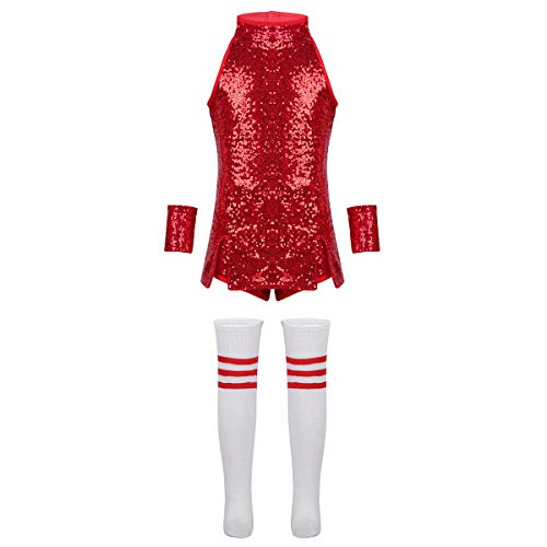iEFiEL Kids Girls Sequins Hip Hop Modern Jazz Street Dance Costume Children Stage Performances Dress Outfit Red 7-8 -