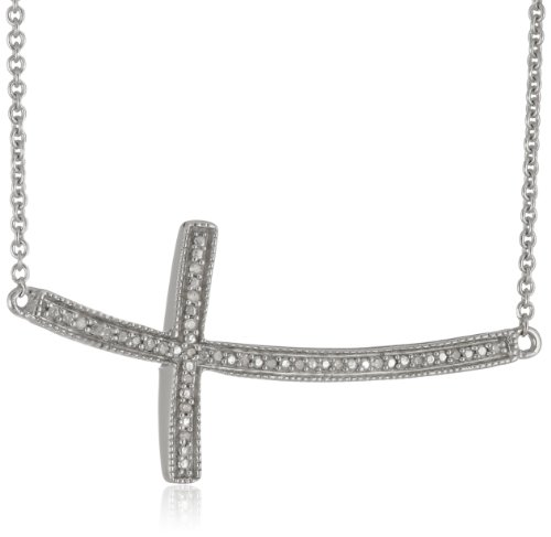 Sterling Silver Diamond Accent Cross Pendant Necklace (0.05 cttw), 17