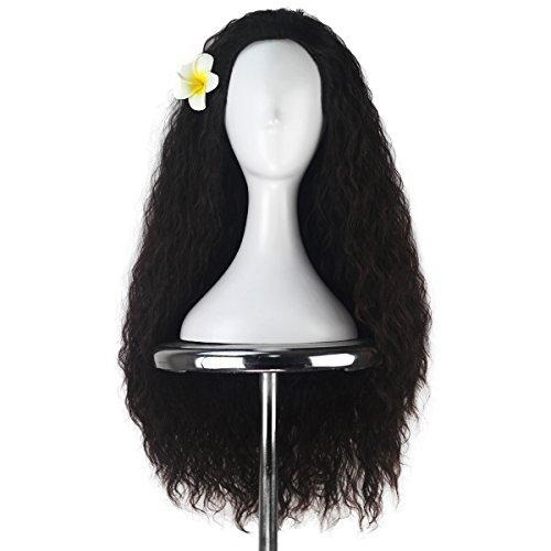 (Women 80cm Long Kinky Curly Hair Movie Cosplay Costume Wig Halloween Adult Kids (Dark)