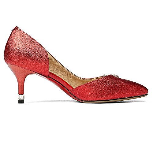 Nine Seven Cuero Moda Puntiagudos Tacones de Aguja con Diamantes de Imitacion de Vestir para Mujer Rojo