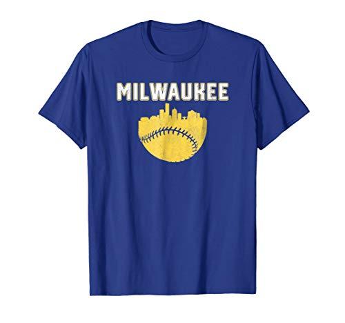 - Vintage Milwaukee Wisconsin Cityscape Baseball T-Shirt