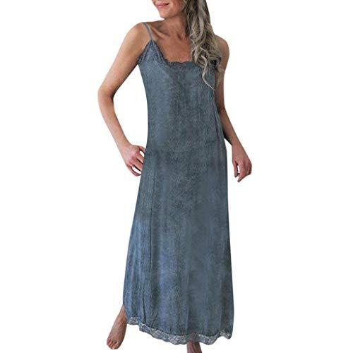 Caopixx Women Casual Summer Dresses Sleeveless American Linen Dresses Lace Splice Long Sundresses Blue (Fendi Junior)