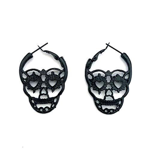 Matte Black Skull Outline Hoop Earrings
