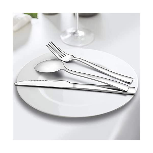 LIANYU 40-Piece Silverware Set, Stainless Steel Square Flatware Cutlery Set for 8, Eating Utensils Tableware Include… 7
