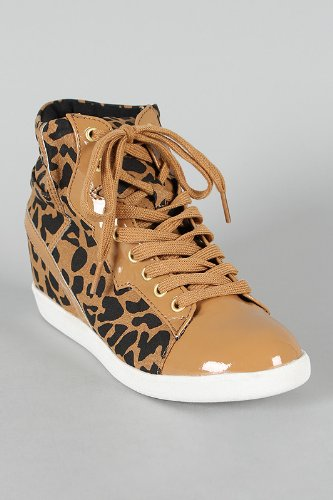 Qupid Patrol-29 Cheetah Print Womens Wedge Sneaker TAN (6.5)