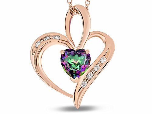 Star K Solid 14K Gold Open Heart Pendant Necklace with 6mm center stone