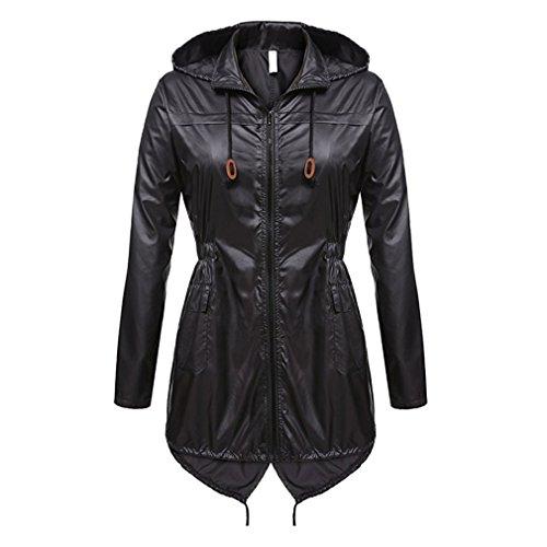 lunga cappuccio cappotto cerniera donne Nero viaggio tasche Mxssi sottile casual giacca con manica leggero da impermeabile capispalla cappotto wUqvO1FRp