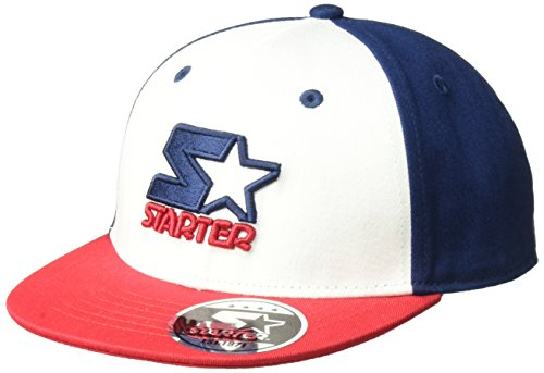 Starter Boys' Snapback Flat Brim Cap, Amazon Exclusive, White/Team Red/Team Blue, One Size