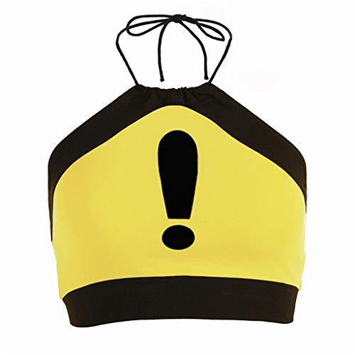 (Toimothcn Camouflage Halter Tank Tops, Women's Casual Tie Dye Camis Sleeveless Vest (Yellow,L))