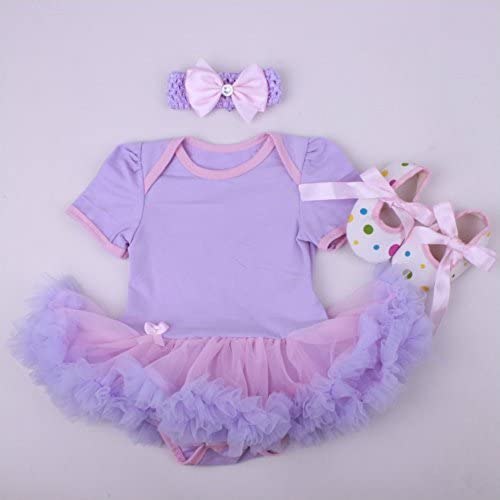 Perfeclan Reborn Doll Clothes 20-22inch Girls Baby Outfits with Underwear and Flower Headband Suit Lovely Cake Printed Rompers Dress