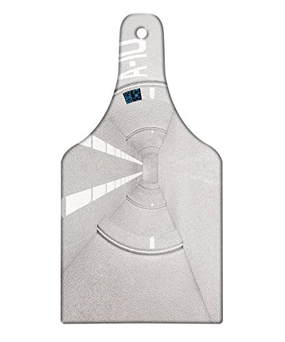 Lunarable Outer Space Cutting Board, Corridor of Spacecraft Architecture Arrival to Solar System Time Travel Scenery, Decorative Tempered Glass Cutting and Serving Board, Wine Bottle Shape, White by Lunarable