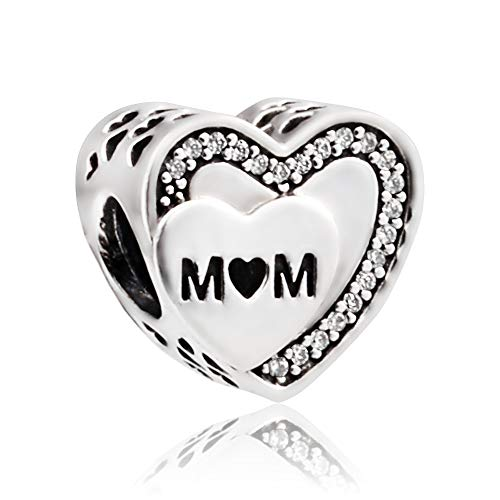 Pandora Tribute to Mum Silver Charm with Clear Cubic Zirconia -