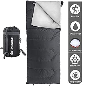 FUNDANGO 3-4 Season Rectangular Sleeping Bag for Outdoor Camping Backpacking Hiking Traveling Compression Bag Included