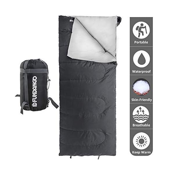 FUNDANGO Lightweight Sleeping Bag for Adults Camping Sleeping Bag Envelope Rectangular Compact Sleep Bag Waterproof Portable for Hiking, Backpacking, Traveling with Compression Bag 3
