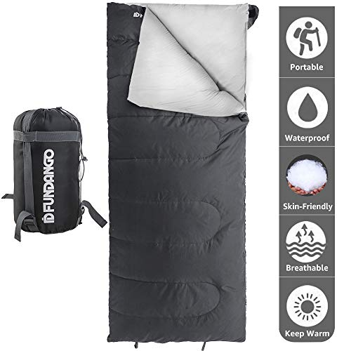 FUNDANGO Lightweight Sleeping Bag Compact Waterproof Rectangular Envelope Cozy Portable Summer Backpacking Camping Hiking Sleeping Bags for Adults Extreme 4 39.2 with Compression Bag