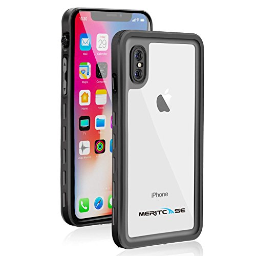 Waterproof Case for iPhone X/iPhone Xs, Meritcase IP 68 Waterproof iPhone X Case Dustproof Shockproof iPhone Xs Waterproof Case with Kickstand for Snowmobile Swimming Diving-Black
