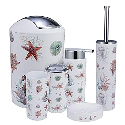 IMucci Colorful Ocean 6pcs Bathroom Accessories Set - with Trash Can Toothbrush Holder Soap Dispenser Soap and Lotion Set Tumbler Cup - 1. Size: 11.67.87*7.67''/20*19.5*29.5CM, Material: PP + ABS; Color: black; 2. Perfect Bath Accessory Set includes toothbrush Holder,Tumbler Cup,Soap Dish,Lotion Dispenser,Toilet BrushTrash Can; 3.EASY TO CLEAN; because all the pieces are skillfully finished in glossy white color, cleaning them is a breeze. Simply wash with soapy water and a soft cloth and you will keep your personal accessories in a hygienic and germ-free environment. - bathroom-accessory-sets, bathroom-accessories, bathroom - 41DTQhQAklL. SS400  -