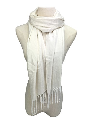 YOUR SMILE Womens Wedding Evening Wrap Shawl Glitter Metallic Prom Party Scarf with Fringe (White)