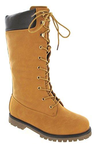 Other Womens Ladies Army Lace UP Flat Combat Biker Wide Calf Knee High Winter Boots SZ Camel U3uGBu