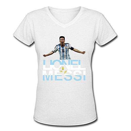 AOPO Lionel Messi FIFA Ballon D'Or V-Neck Short Sleeve Tshirts For Women
