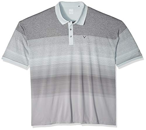 (Callaway Men's Short Sleeve Yarn Dye Stripe Polo, Pearl Blue, 6X-Large Big)