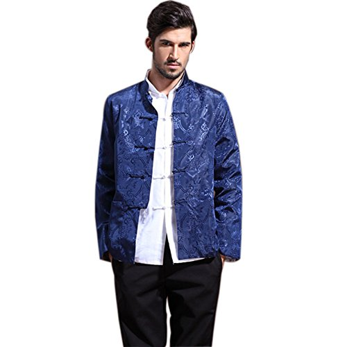 Mens Chinese Kung Fu Long Sleeve Silk Tang Jacket Double Sided Blue Silver Size S by Master J