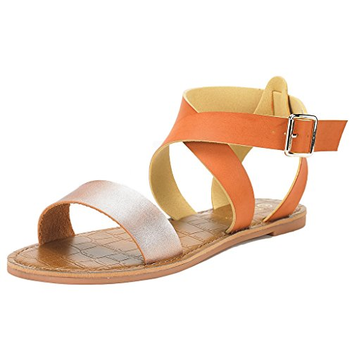(DREAM PAIRS Women's Open Toe Summer Flat Sandals Champagne/TAN Size 9)