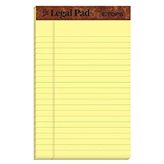 """TOPS The Legal Pad Writing Pads, 5"""" x 8"""", Jr. Legal Rule, Canary Paper, 50 Sheets, 5 Pack (75017)"""