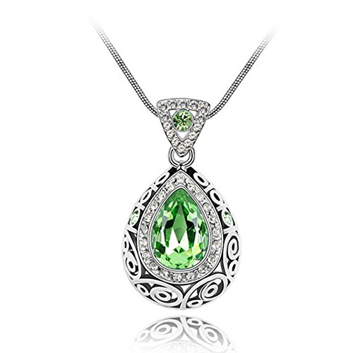Gift for Girls White Gold Plated Retro Style Teardrop Shaped Green Swarovski Elements Crystal Pendant Necklace Fashion Jewelry