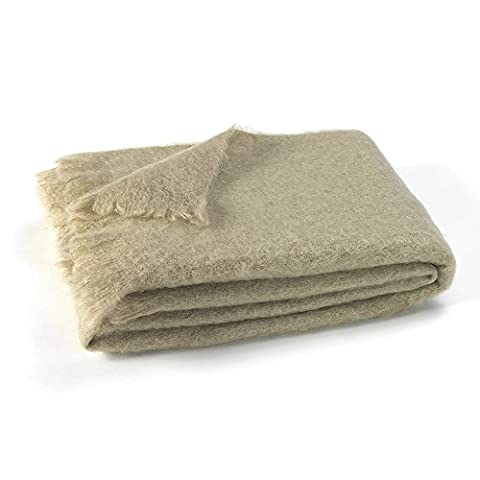 Luxury 100% Fine Mohair Throw Blankets – Exclusive Designer Accent Throws Made in New Zealand, Heirloom Quality In 30 Solid Colors - Flax Color