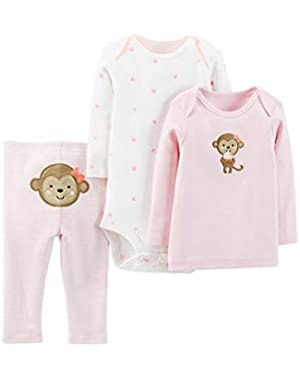 Carters Child of Mine Infant Girls Pink Monkey 3 piece Set Outfit