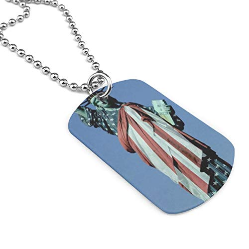 YOIGNG The American Flag and Statue of Liberty Dog Tag Pendants Necklace Cat