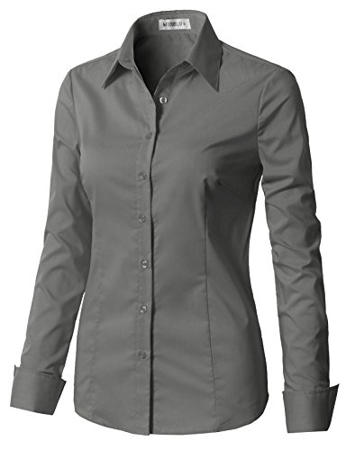 CLOVERY Women's Long Sleeve Cotton Spandex Button Down Shirt Grey S